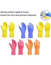 Kashi Surgicals Victor Cleaning Gloves Reusable Rubber Hand Gloves, Stretchable Gloves for Washing Cleaning Kitchen Garden (Color May Vary)