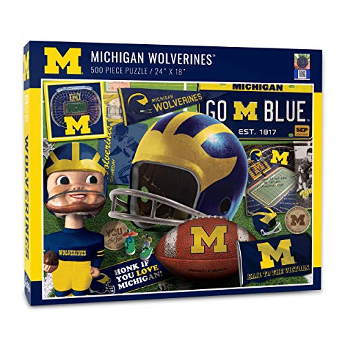 YouTheFan NCAA Michigan Wolverines Retro Series Puzzle - 500 Pieces, Team Colors, Large