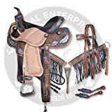 ME Enterprises Youth Child Premium Leather Western Barrel Racing Pony Miniature Horse Saddle Tack,Size 10-12 Inch Seat Available + Matching Leather Headstall, Breast Collar,Reins (12'' Inches Seat)
