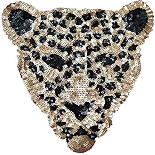 ANNIUP Leopardo Parches de Lentejuelas Planchar, Parches de Estilo Folk, Personalizados, para Ropa, Lentejuelas, para decoración de Ropa