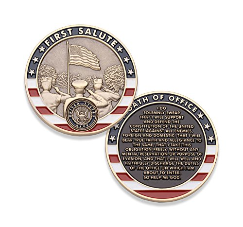 Navy First Salute Challenge Coin - United States Navy Challenge Coin - Amazing USN Military Coin - Designed By Military Veterans!