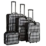 Rockland Fashion Softside Upright Luggage Set, Black Plaid, 4-Piece (14/19/24/28)