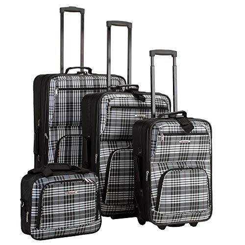 Rockland Fashion Softside Upright Luggage Set, Black Plaid, 4-Piece (14/19/24/28)