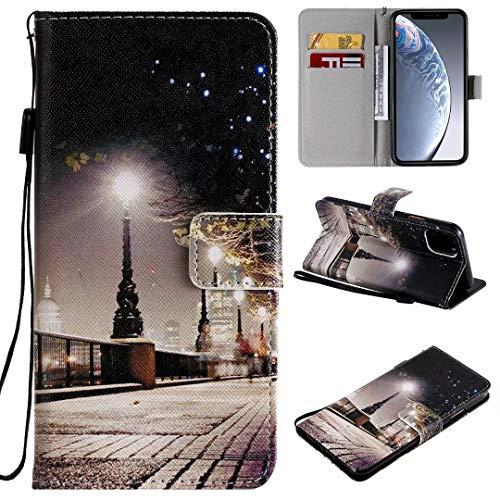 Miagon Flip PU Leder Schutzhülle für iPhone 12 Mini,Bunt Muster Hülle Brieftasche Case Cover Ständer mit Kartenfächer Trageschlaufe,Stadt Szene