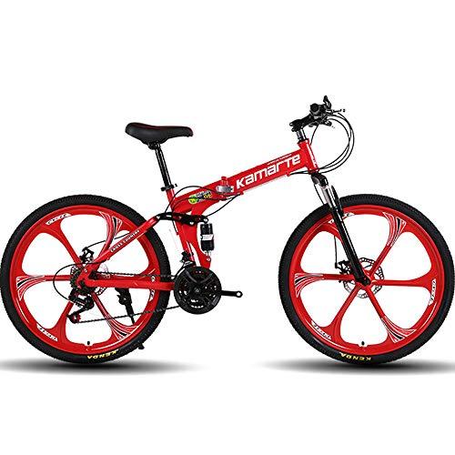 """ZRZJBX Bicicleta De Montaña Todoterreno Hombre Y Mujer Adultos Estudiantes Una Rueda De Radiosbicicleta De Montaña De Amortiguación para Adultos,24""""Red-21speed"""