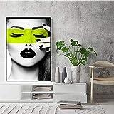 Zhenhe Marco negro nórdico moderno minimalista personalidad arte abstracto figura de la belleza verde de la pared pintura decorativa pintura mural 30 * 40/40 * 60/50 * 70cm HD micro-aerosol en casa ha