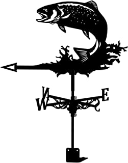 21-inch Deluxe Metal Weathervane with Fish Ornament, Professional Measuring Tool Garden Stake Art Decor for Garden Decor