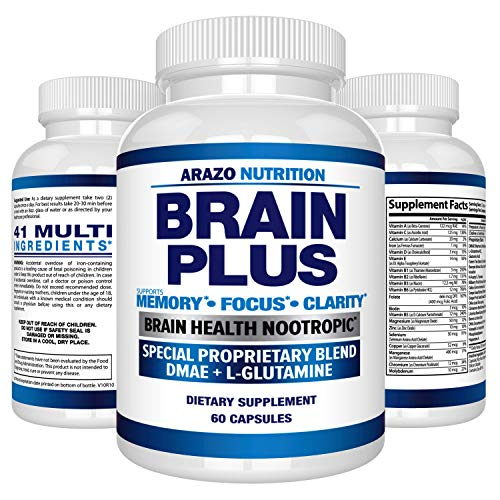 Premium Brain Function Supplement - Memory, Focus, Clarity - Nootropic Booster with DMAE, Bacopa Monnieri, L-Glutamine, Multi Vitamins, Multi Minerals - Arazo Nutrition