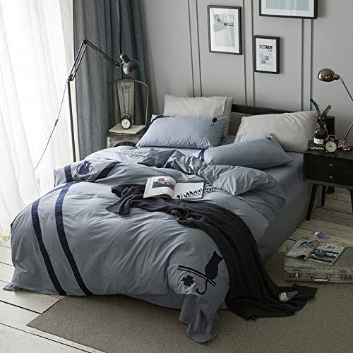 Yaonuli eenvoudige quilt voor eenpersoonsbed, tweepersoonsbed, vierdelig, klein, fris, eenkleurig, beddengoed, dak, kat, 200 x 230 cm