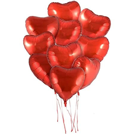 """Rozi Decoration 18"""" inches Red Heart Shape Party Decorative Foil Balloon - Pack of 10 Pcs (71203)"""