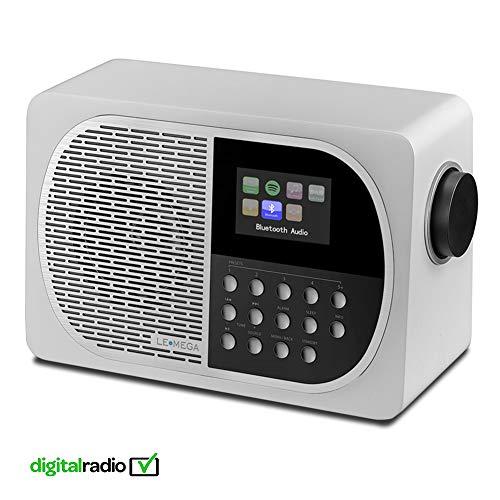 LEMEGA M2 + DAB / DAB + / FM digitale tafelradio met Bluetooth, internetradio, Spotify, hoofdtelefoon, USB MP3, AUX, oplaadbare batterij, klok, alarmen, voorinstellingen, kleurenscherm en app-bediening - wit satijn