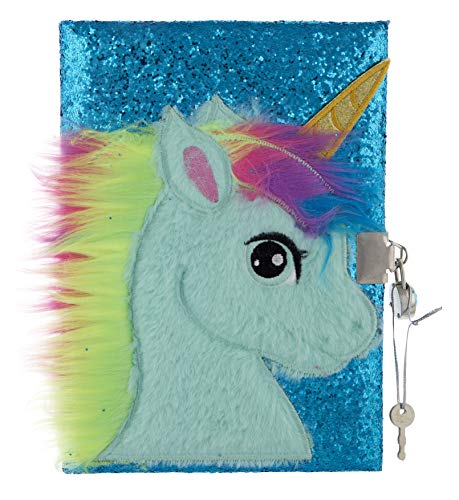 Mirada Unicorn with Horn Glitter Notebook/Diary (Size A5, 80 Pages) Creative Writing Notebook for Kids - Turquoise
