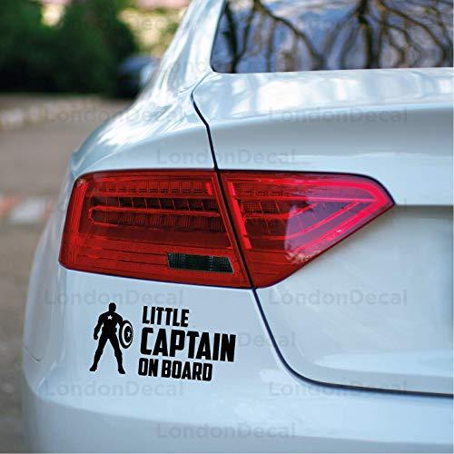 Little Capitan on Board, adesivo in vinile per finestrini auto, motivo: Capitan America, Vendicatori.
