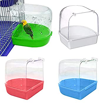 Honey MoMo Baignoire pour oiseaux, accessoires pour oiseaux, perroquet - Baignoire transparente à suspendre - Décoration de cage - Vert