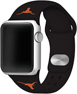 AFFINITY BANDS Texas Longhorns Silicone Watch Band Compatible with Apple Watch (42mm/44mm Black) - Licensed NCAA Watch Band