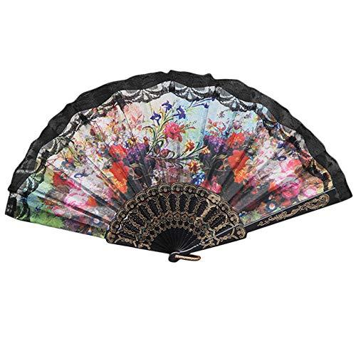 Syeytx chinesischen Stil 23 cm Blumen Serie Lace Hand Folding Fan Dance Wandventilator, Hochzeit, Party, Tanz, Karneval Dekor