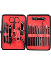 18 In 1 Manicure Set, Pedicure Kit Stainless Steel Professional Grooming Kit with Black Leather Travel Case 2nd Generation