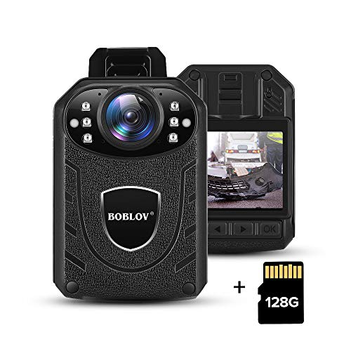 BOBLOV 1296P Body Wearable Camera Support Memory Expand Max 128G 8-10Hours Recording Police Body Camera Lightweight and Portable Easy to Operate KJ21(Cam+128G