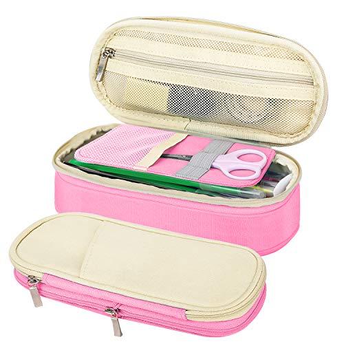 MoKo Funda para Lápices de Gran Capacidad, Caja de Almacenamiento Bolsa de Soporte de Lápiz Portable, Organizador de Papelería con Cremallera para Oficina y Escuela - Arroz Blanco + Rosa