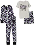 Amazon Brand - Spotted Zebra Boys' Kids Disney Star Wars Marvel Snug-Fit Cotton Pajamas Sleepwear Sets, 4-Piece Nightmare Camo, Medium