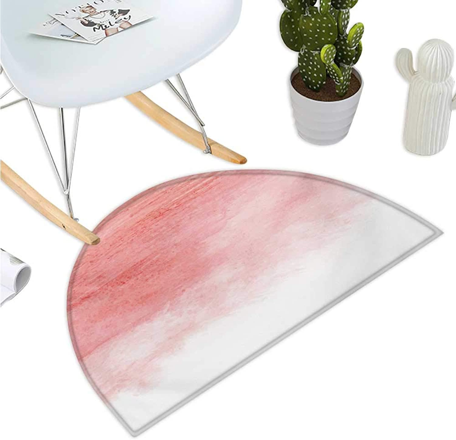 Peach Half Round Door mats Hand Drawn Watercolor Style with Brush Strokes with Ombre Effect Artistic Print Bathroom Mat H 47.2  xD 70.8  Coral White