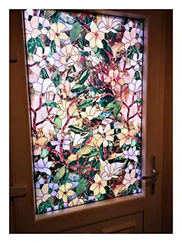 AGNN 90 * 200cm Farbe Magnolia Muster Fensterdekorfolie, selbstklebend Elektrostatische Privacy Protection Glass Aufkleber, gebeizt (Color : 85x200cm)