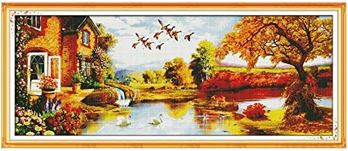 Cross Stitch Golden Scenery Counted 14CT In a popularity 11CT Boston Mall