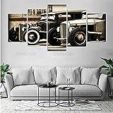 Decoración De Arte De Pared 5 Piezas Imprime En Lienzo Póster Hot Rods Old Car HD Cuadro Estilo Abstractos Moderna Inicio Decoración Lienzos Listo para Colgar(con Marco)
