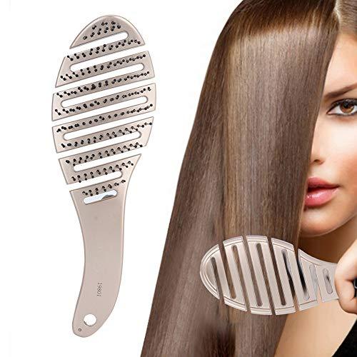 Brosse à cheveux courbée, grand peigne de massage courbé, peigne de flexion élastique confortable pour réduire les frisottis et le cuir chevelu de massage