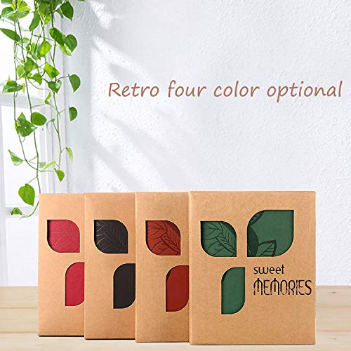 ZEEYUAN Scrapbook, Memories Scrapbook Leaf Soft Leather Album Family Self-Adhesive Books Special Christmas Gifts Birthday Gifts Unique Gift for Women(Green)