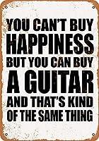 なまけ者雑貨屋 アメリカン 雑貨 ナンバープレート You Can't Buy Happiness But You Can Buy a Guitar ヴィンテージ風 ライセンスプレート メタルプレート ブリキ 看板 アンティーク レトロ