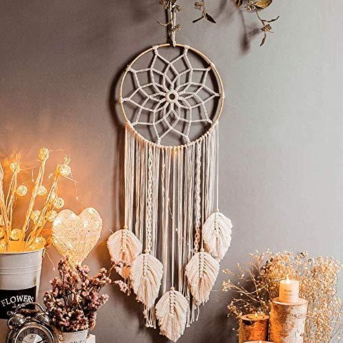 Traumfänger Dreamcatcher, LED Licht Makramee Wandbehang Traumfänger Weiß Groß Boho Deko, Böhmische Woven Wanddeko Wandteppich Ornament für Hochzeit Home Schlafzimmer Wohnzimmer Dekoration
