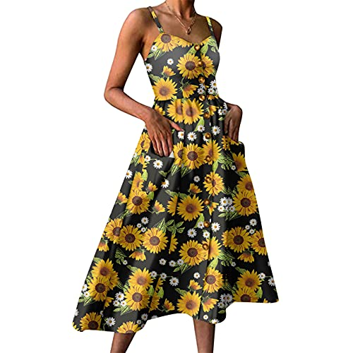 YANFANG Vestido A Media Pierna Bohemio con Bolsillos Abatibles Estampado para Mujer,Vestido De Mujer Botones Bohemios Y Girasoles,Mini TúNica Manga Corta,2-Negro,XL