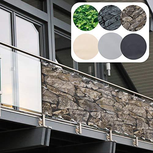 Balkon Sichtschutz PVC | 90x600 cm | Extra Blickdicht | Balkonverkleidung aus wetterfestem Kunststoff mit UV-Schutz | Deko für Balkongeländer, Terrasse & Garten | viele Farben & Designs (Sandstein)