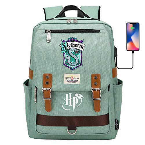 DDDWWW Slytherin Rucksack multifunktionale Schüler Schule Tasche, Harry Potter Rucksack Laptop-Tasche mit USB-Anschluss 42CM/30CM/16CM Grün