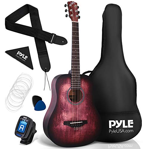 "Pyle, Acoustic Guitar Starter Pack-34"" ½ Junior Size 6 Linden Wood Red Burst Design w/Accessories Case Bag Steel Strings, Nylon Strap, Tuner, Picks, for Beginner, Right (PGA820)"