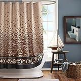 GASIYU Duschvorhang mit Leopardenmuster, wasserdicht, Braun bedruckt, Duschvorhang für Badezimmer, Polyester, Schokoladenbraun, 182,9 x 198,1 cm (B x H)