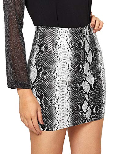 WDIRARA Women's Mid Waist Above Knee O-Ring Zipper Front Snake Print Skirt Multicolor L