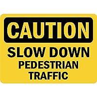 注意歩行者の通行を遅くします。金属スズサイン通知街路交通危険警告耐久性、防水性、防錆性