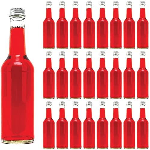 casavetro 24 Leere Glasflaschen 350 ml BOR kleine Flaschen Saftflaschen Likörflaschen Weinflasche Flaschen mit Schraubverschluss 0,35 Liter l (24 x 350 ml)