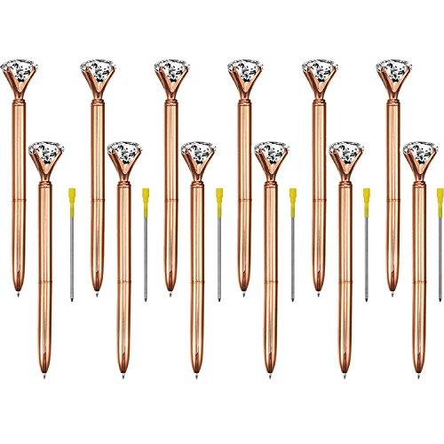 Bememo 12 Pieces Big Diamond Crystal Ballpoint Pens and 6 Pieces Ballpoint Pen Refills, Black Ink (Rose Gold)