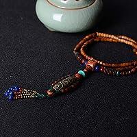 THTHT Ethnische Maxi Halskette Für Frauen Farbe Stein Keramik Dzi Perlen Anhänger Kokosnussschale Langkettige Mode Vintage Schmuck