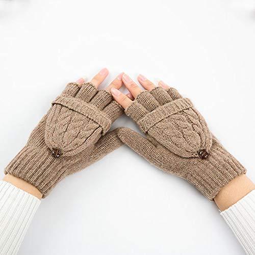 MHGLOVES Winter Strickhandschuhe, Damen Winter warme Wolle Strick Cabrio Fingerlose Handschuhe, Dual Use Halbfingerhandschuhe für Damen und...