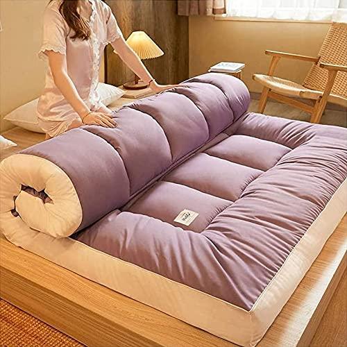 Futón De Engrosamiento del Colchón, Plegable Portátil De Roll-Up Piso De Tatami Almohadilla para Dormir para Acampar Yoga Meditación,Púrpura,180x200cm