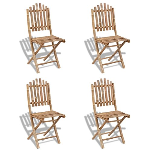 Festnight- 4pcs Faltbar Gartenstühle Bambusstuhl | Klappstuhl aus Bambus | Garten Klappbar Stuhl-Set | als Balkonstuhl Terrassenstuhl 50 x 42 x 92 cm