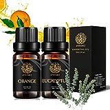Set di oli essenziali per aromaterapia terapeutica – kit di oli essenziali di eucalipto arancio dolce 100% puro oli profumati per aromaterapia, per diffusore, massaggi, umidificatore, 2 x 10 ml