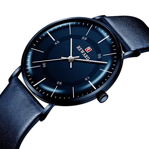 LXMJ-REWARD Reloj Hombre de Negocios Cinturón Informal Calendario Impermeable Reloj de Cuarzo...