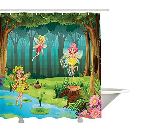 Yeuss Fantasy Duschvorhang, Feen fliegen in den verzauberten Dschungel magische Umgebung blühenden Frühling Natur, Tuch Stoff Badezimmer Dekor Set mit Haken, Multicolor