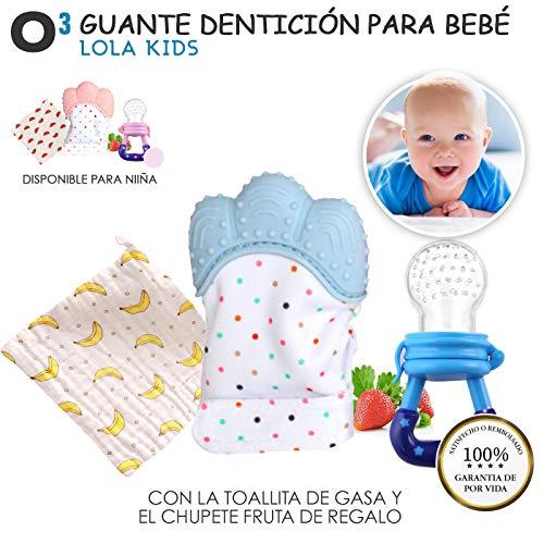 O³ Guante Dentición Bebé Lola Kids + 1 Gasas Bebe Algodon Muselina + 1 Chupete Fruta - 2 Versiones | Guante Mordedor Bebé - Ayuda La Dentición - Protege Las Manos - Mordedor Bebes Frio - Niño