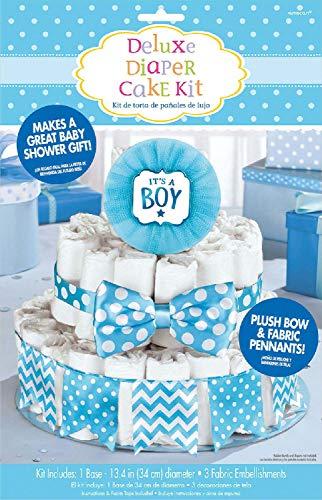 Amscan 380084 - Dekorationsset Windeltorte Junge, 4-teilig, für circa 70 Windeln, Geschenk zur Geburt